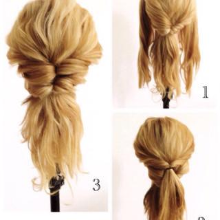 くせ毛風 簡単ヘアアレンジ ショート セミロング ヘアスタイルや髪型の写真・画像
