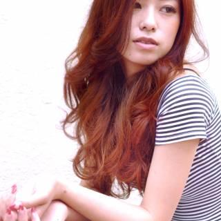 春 レッド ロング ピンク ヘアスタイルや髪型の写真・画像
