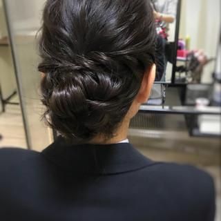 お呼ばれ ヘアアレンジ シンプル セミロング ヘアスタイルや髪型の写真・画像