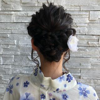 まとめ髪 ヘアアレンジ ミディアム 和装 ヘアスタイルや髪型の写真・画像