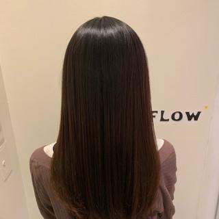 ナチュラル ロング ストレート 縮毛矯正 ヘアスタイルや髪型の写真・画像