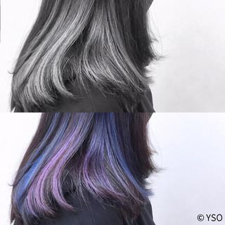 パープル セミロング ブルー ブラントカット ヘアスタイルや髪型の写真・画像