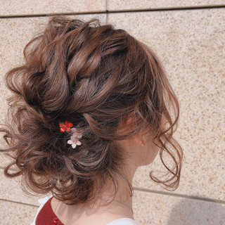 ボブ 簡単ヘアアレンジ ヘアアレンジ 結婚式 ヘアスタイルや髪型の写真・画像