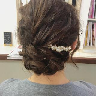 セミロング ヘアアレンジ ショート 結婚式 ヘアスタイルや髪型の写真・画像