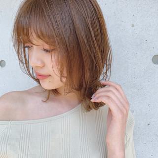 鎖骨ミディアム デジタルパーマ 透明感カラー ミディアム ヘアスタイルや髪型の写真・画像