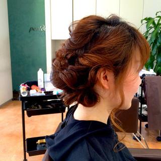 ロング 結婚式 編み込み フェミニン ヘアスタイルや髪型の写真・画像