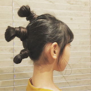 ヘアアレンジ ロング 子供 黒髪 ヘアスタイルや髪型の写真・画像