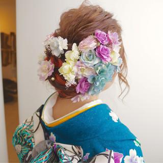 ヘアアレンジ ガーリー 振袖 セミロング ヘアスタイルや髪型の写真・画像