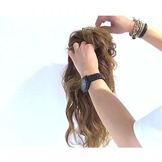 ヘアアレンジ ロング デート フェミニン ヘアスタイルや髪型の写真・画像
