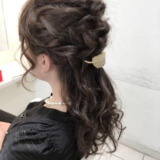 ショート 編み込み ヘアアレンジ セミロング ヘアスタイルや髪型の写真・画像