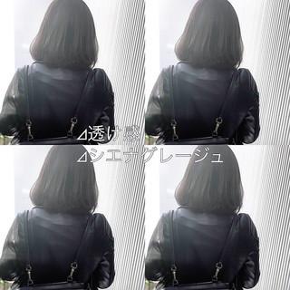 グレージュ アッシュグレージュ ミディアム ストレート ヘアスタイルや髪型の写真・画像