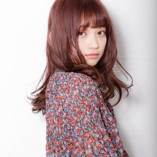 ガーリー バイオレットカラー ロングヘア バイオレット ヘアスタイルや髪型の写真・画像