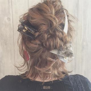波ウェーブ ガーリー デート ヘアアレンジ ヘアスタイルや髪型の写真・画像