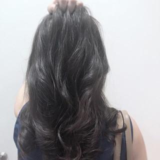 ストリート 暗髪 ロング ネイビー ヘアスタイルや髪型の写真・画像