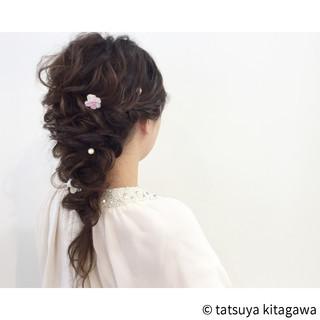 結婚式 フェミニン ポニーテール 花嫁 ヘアスタイルや髪型の写真・画像