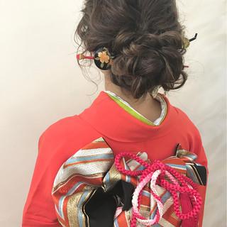 ロング ヘアアレンジ ナチュラル 振袖 ヘアスタイルや髪型の写真・画像
