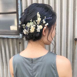 成人式 卒業式 結婚式 ドライフラワー ヘアスタイルや髪型の写真・画像