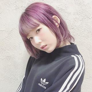 パープル 前髪あり 外国人風 ピンク ヘアスタイルや髪型の写真・画像