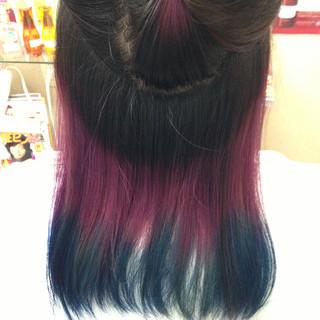 インナーカラー パープル グラデーションカラー ブルー ヘアスタイルや髪型の写真・画像