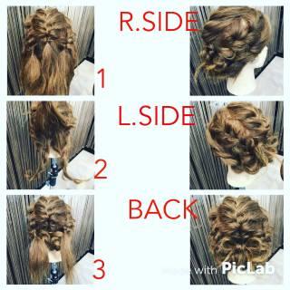 ヘアアレンジ 編み込み 簡単ヘアアレンジ 波ウェーブ ヘアスタイルや髪型の写真・画像