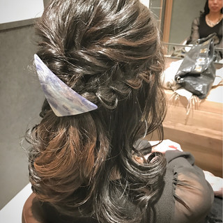結婚式 フォーマル フェミニン ミディアム ヘアスタイルや髪型の写真・画像