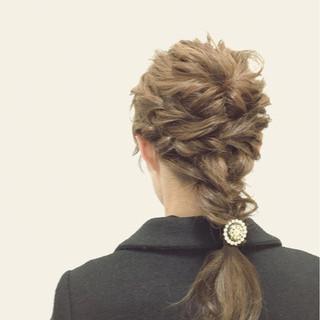 簡単ヘアアレンジ ショート 外国人風 ミディアム ヘアスタイルや髪型の写真・画像