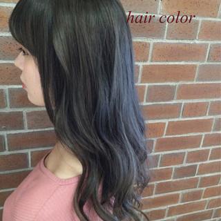 アッシュ 外国人風 黒髪 ロング ヘアスタイルや髪型の写真・画像