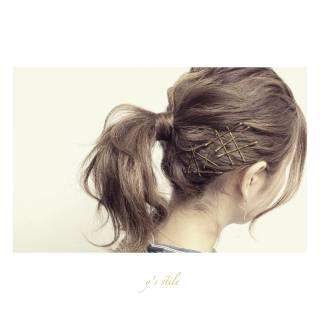 ナチュラル 春 アップスタイル ヘアアレンジ ヘアスタイルや髪型の写真・画像