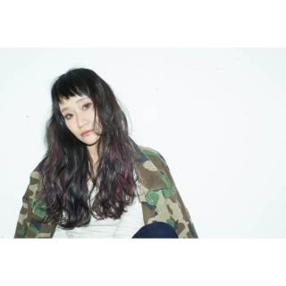 ロング ウェーブ 暗髪 ウェットヘア ヘアスタイルや髪型の写真・画像