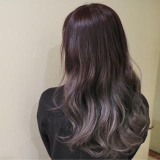 ロング グラデーションカラー デート ピンク ヘアスタイルや髪型の写真・画像