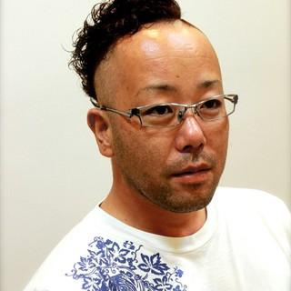 パーマ ショート メンズ 黒髪 ヘアスタイルや髪型の写真・画像
