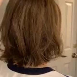 モテ髪 ハイライト ナチュラル 切りっぱなしボブ ヘアスタイルや髪型の写真・画像