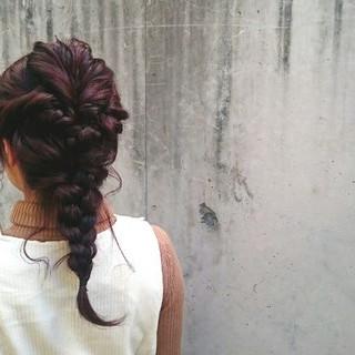 簡単ヘアアレンジ ストリート 編み込み ヘアアレンジ ヘアスタイルや髪型の写真・画像