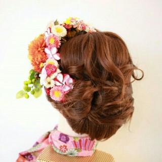 着物 セミロング 夜会巻 和服 ヘアスタイルや髪型の写真・画像