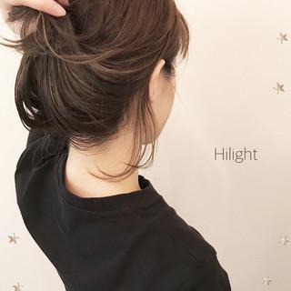 抜け感 前髪あり ミディアム ハイライト ヘアスタイルや髪型の写真・画像