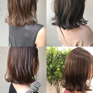 外ハネボブ ナチュラル アウトドア ミディアム ヘアスタイルや髪型の写真・画像