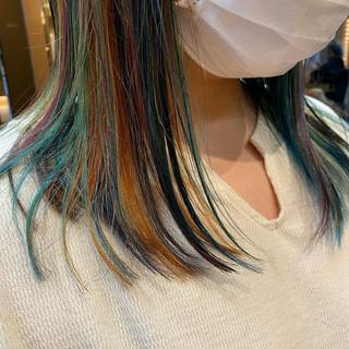 ミディアム ユニコーンカラー デザインカラー モード ヘアスタイルや髪型の写真・画像