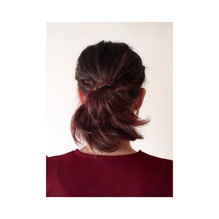 お団子 三つ編み ショート ヘアアレンジ ヘアスタイルや髪型の写真・画像