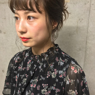 簡単ヘアアレンジ ミディアム お団子 ショート ヘアスタイルや髪型の写真・画像