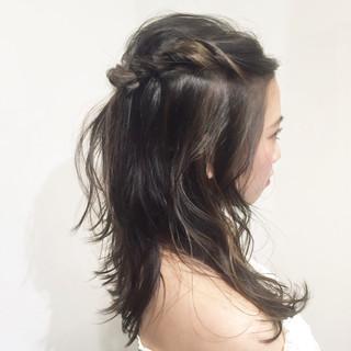 ミディアム 簡単ヘアアレンジ ハイライト ショート ヘアスタイルや髪型の写真・画像