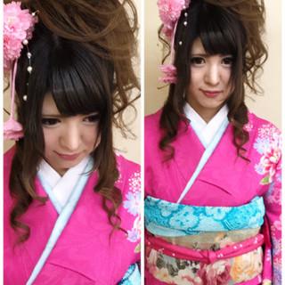 振袖 ハーフアップ 成人式 アップスタイル ヘアスタイルや髪型の写真・画像