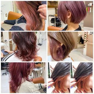 インナーカラー ラベンダーグレージュ ミディアム ベリーピンク ヘアスタイルや髪型の写真・画像