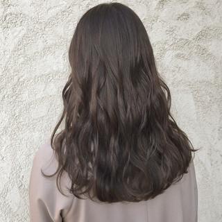 ダークカラー セミロング 透明感カラー ブリーチなし ヘアスタイルや髪型の写真・画像