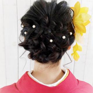 ヘアアレンジ 結婚式 セミロング 成人式 ヘアスタイルや髪型の写真・画像