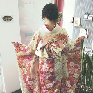 着物 ミディアム 和服 エレガント ヘアスタイルや髪型の写真・画像