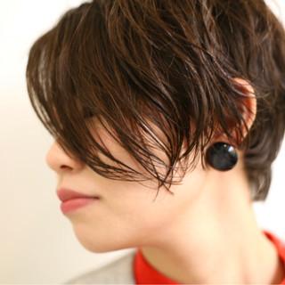 ショート パーマ くせ毛風 ショートボブ ヘアスタイルや髪型の写真・画像