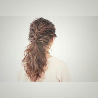 ナチュラル 簡単ヘアアレンジ 大人かわいい セミロング ヘアスタイルや髪型の写真・画像