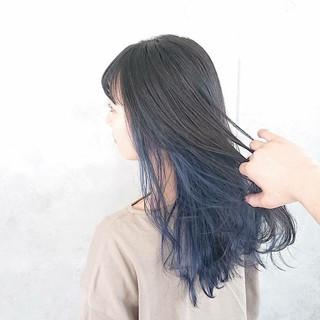 ネイビー ネイビーブルー インナーカラー ヘアカラー ヘアスタイルや髪型の写真・画像