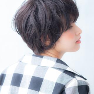 暗髪 黒髪 アッシュ ショートヘア ヘアスタイルや髪型の写真・画像
