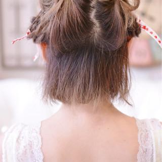 ヘアアレンジ ガーリー 簡単ヘアアレンジ ボブ ヘアスタイルや髪型の写真・画像